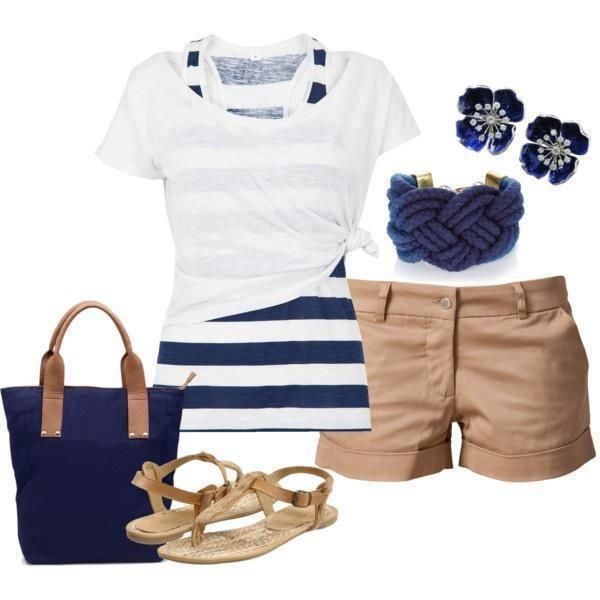 Nautical summer outfit - Love the knotted tee over the striped tank!