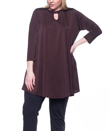 Loving this Brown Keyhole Tunic - Plus on #zulily! #zulilyfinds