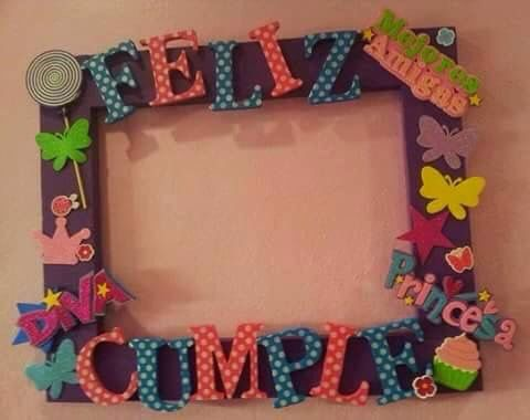 Spanish for (happy birthday). Picture frame