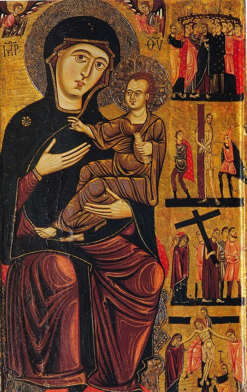 Enrico di Tedice (Pisano - metà del XIII sec.) - Madonna col Bambino, due angeli e storie della Passione - Firenze, Museo del Bargello