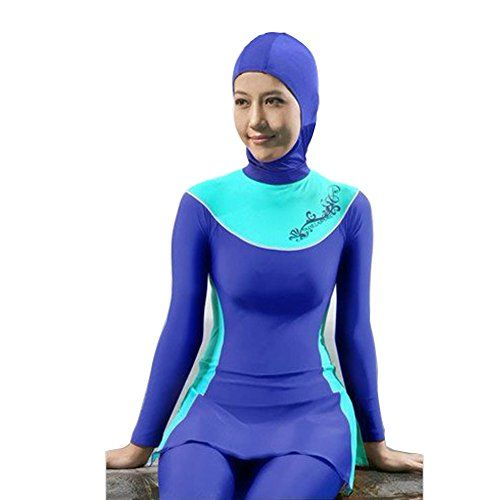 Lazy Cat Full Cover Modest Muslim Swimsuit Islamic Clothing for Women With Hijab (S, Light Blue)