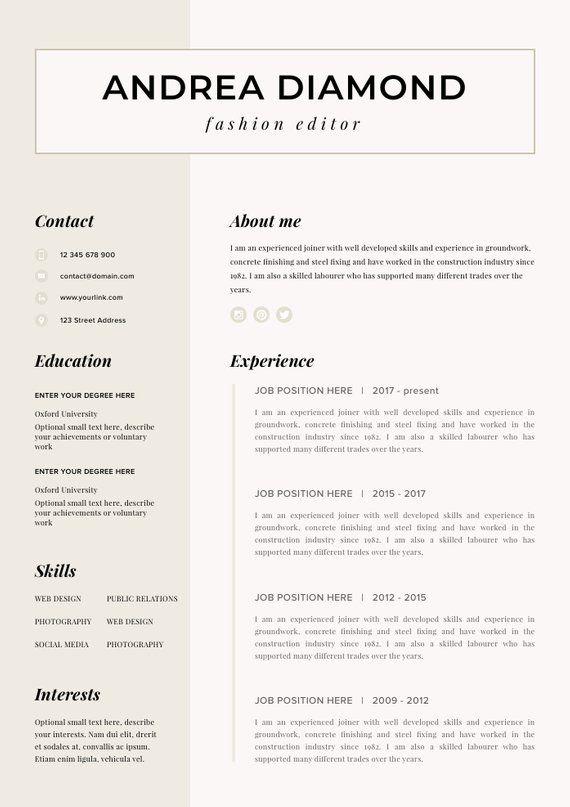 Resume Template Resume Cv Template Cv Design Curriculum Etsy In 2021 Cv Template Cv Template Word Resume Template