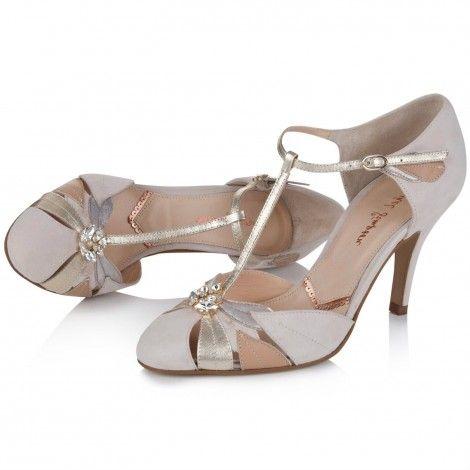 Emmeline by Rachel Simpson Blush Ivory Suede Vintage Designer Wedding or Occasion Shoes