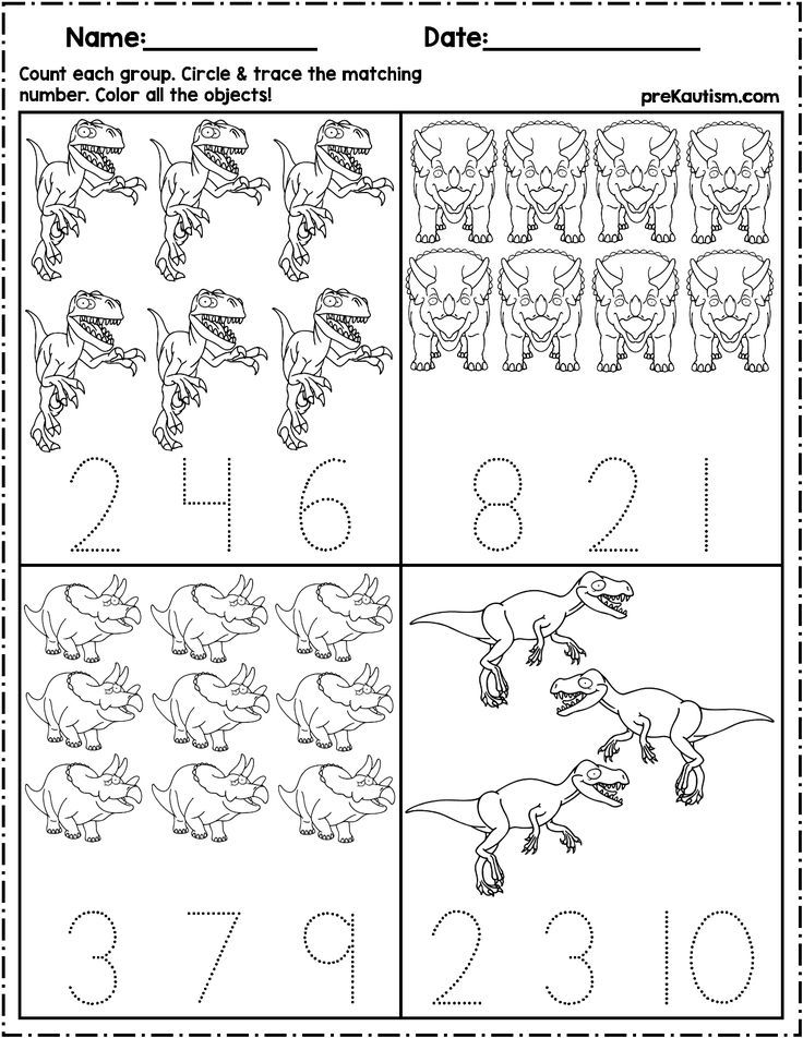 Dinosaur Count & Number Write Writing Numbers, Preschool Writing, Dinosaurs  Preschool