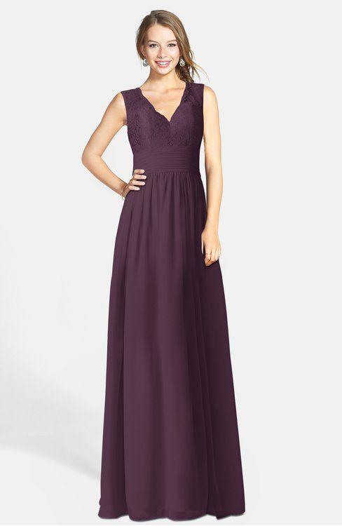 Romantic A-line V-neck Zip up Chiffon Bridesmaid Dresses