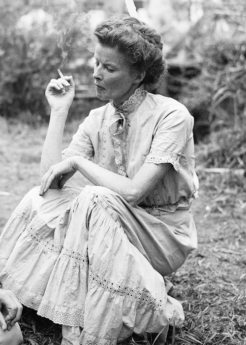 Katharine Hepburn on the set of The African Queen