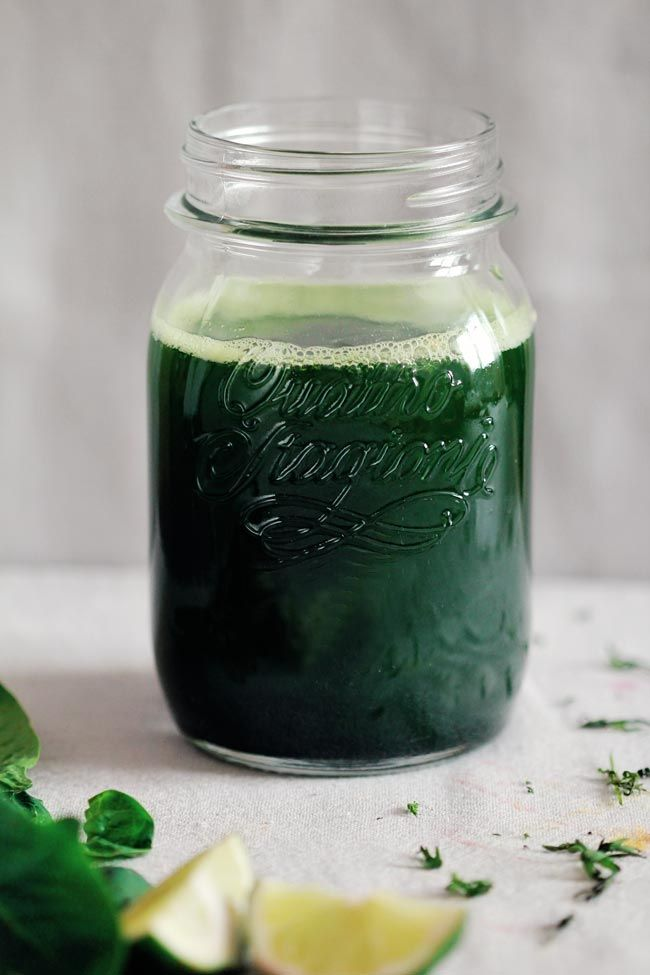 Healing Green Juice -- Ingredients: celery, cucumber, apple, lime, nettle, spinach, parsley