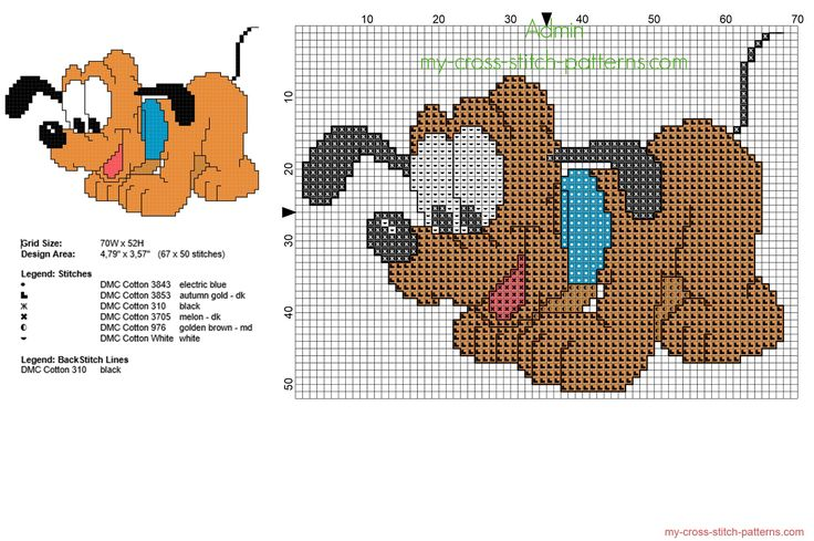 Disney baby Pluto dog free small cross stitch pattern with back stitch use