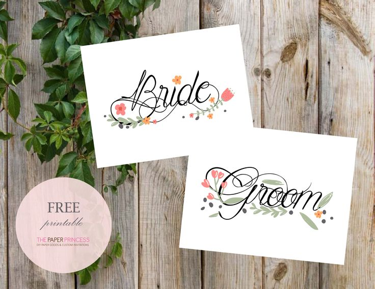 The Paper Princess l Bride and Groom Spring Chair Printable