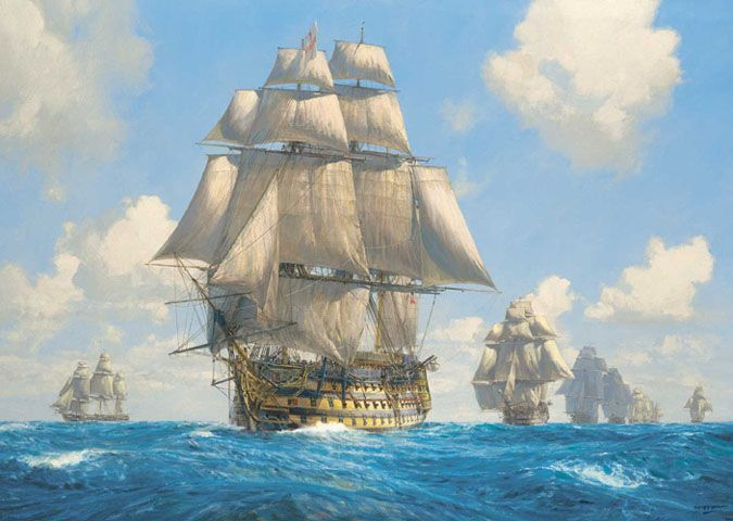 """""""'Victory' on the Atlantic Chase,"""" by Geoff Hunt. Nelson's flagship, """"HMS Victory,"""" in pursuit of Admiral Villeneuve in August 1805."""