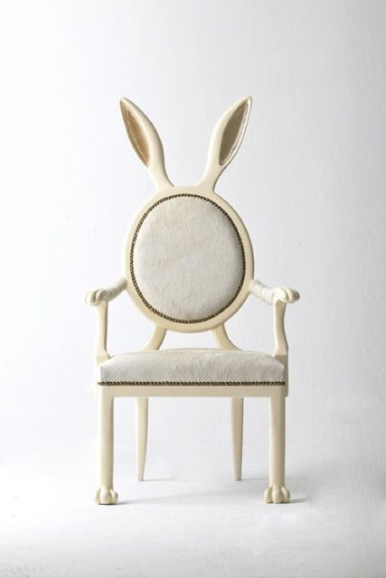 very Alice in Wonderland. Love. Rabbit ear chair.
