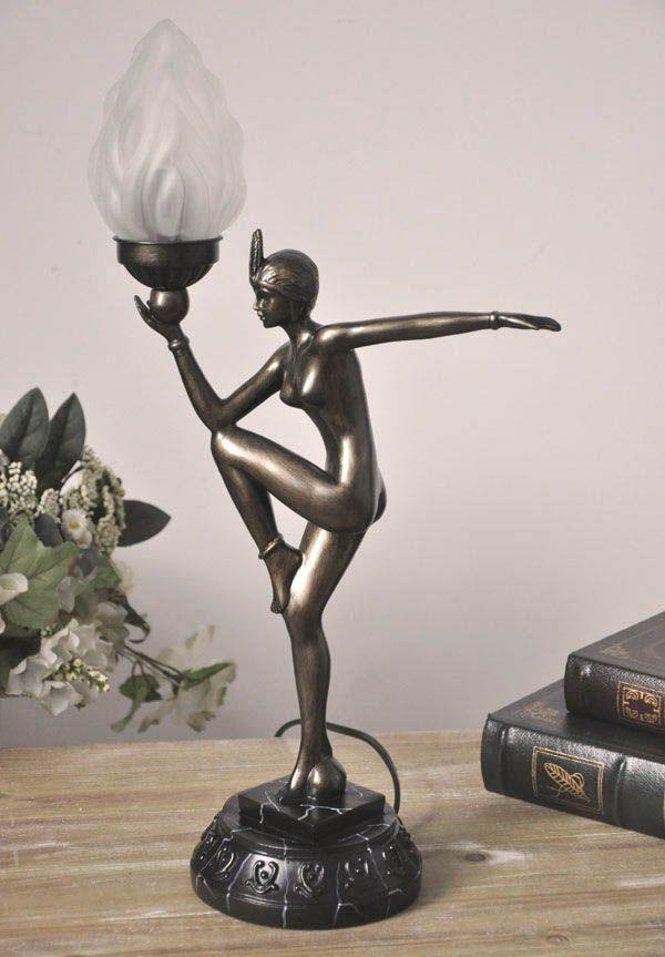 Efektowna lampa z figurą kobiety / Lamp in art deco style