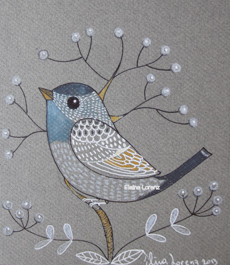 Draw a bird and add some embroidery? Idea for mixed media?