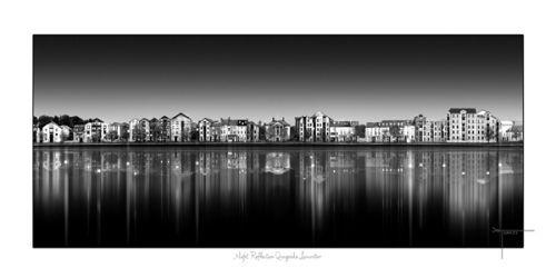 Night Reflection Qauyside Lancaster uk by Joseph Tamassy