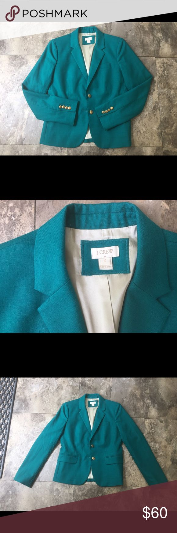 J. Crew blazer size 2 Beautiful teal/turquoise blazer by jcrew women's size 2. In GREAT shape,  almost new condition! Beautiful color for the summer and nice weather approaching. No buttons missing! No flaws. Absolutely gorgeous and can make just about any outfit pop! 😊 J. Crew Jackets & Coats Blazers