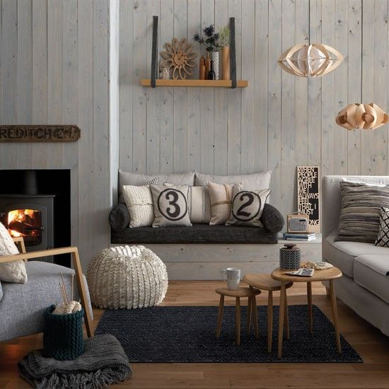 Cosy grey and warm oak living room | Living room decorating ideas | Living room | Ideal Home | IMAGE | Housetohome.co.uk