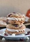 Pumpkin Spice Cookie Sandwiches with Cream Cheese Filling are easy and delicious! Added white chocolate and dried cranberries make these pumpkin spice cookies outstanding.
