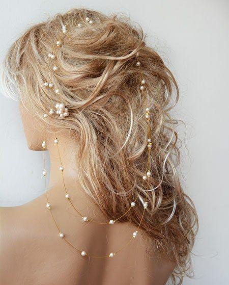 Hochzeit Perle Stirnband, lange Braut Haar Rebe, Hochzeit Haarschmuck für die Braut, Goldfarbe mit Draht Haarteil, Prom Kleid Zubehör