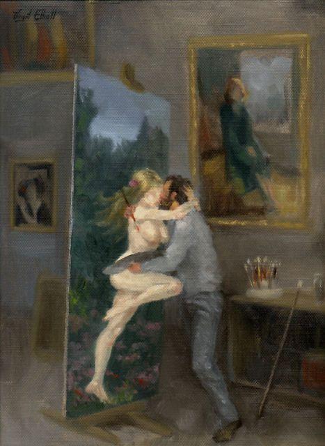 '<3' Art painting wonderful style by Virgil Elliott