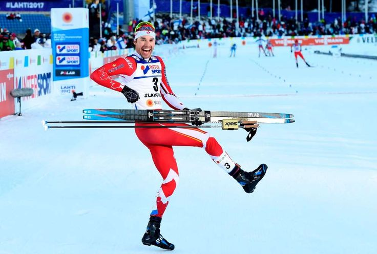 Week of  March 10, 2017:     LAHTI, FINLAND  -    Canada's Alex Harvey celebrates after winning the men's cross-country 50 kms freestyle skiing event at the FIS Nordic World Ski Championships on March 5.