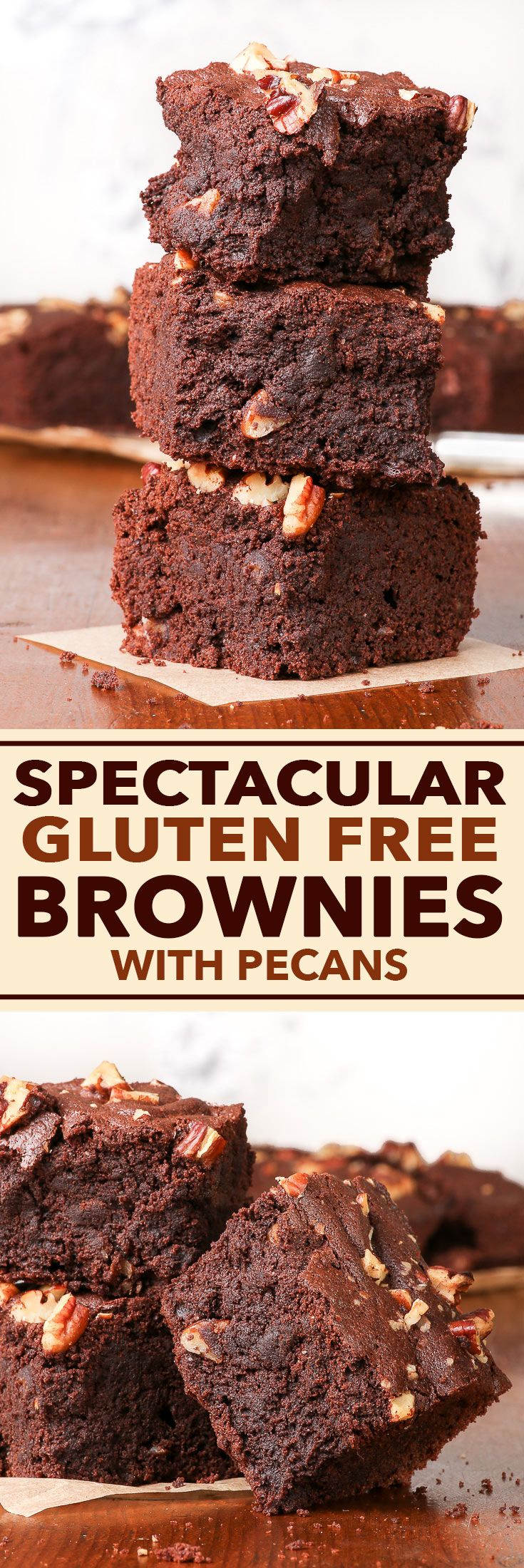 Gluten Free Brownies with Pecans - These SPECTACULAR gluten free brownies are just the right amount of sweet, gooey and chocolatey. The chopped pecans add a wonderful crunch, and the addition of salt and coffee into the brownie batter makes their flavour pop. Easy and quick to make, this just might be your new favourite brownie recipe.