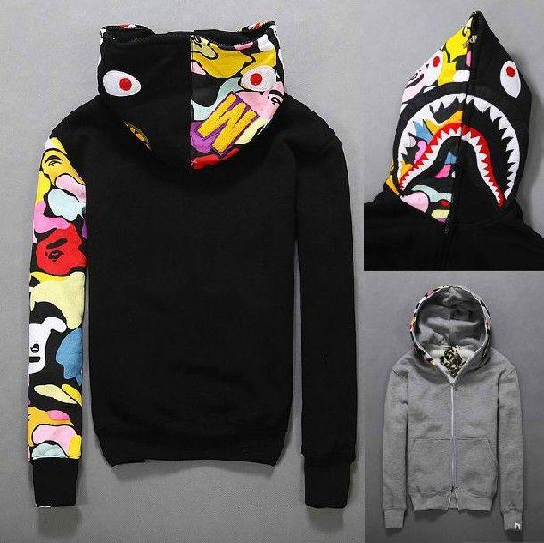 bbf629f1b3e5 Amland Bape Hoodie Camouflage Autumn and Winter AAPE tracksuits coat Cotton  Sweatshirts Fleece Jacket Bape Shark Hoody