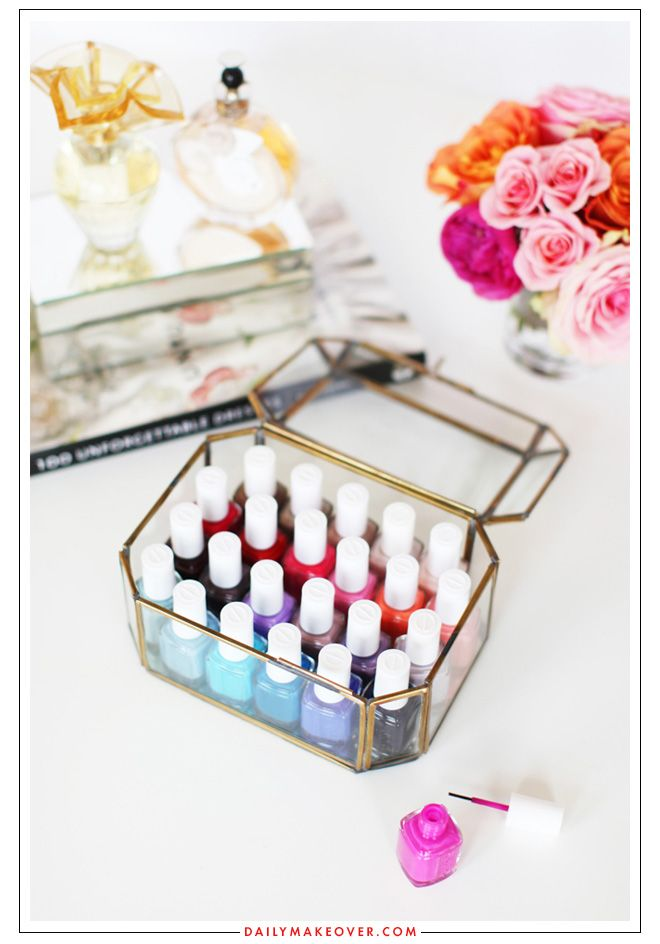 A pretty way to organize your nail polishes.