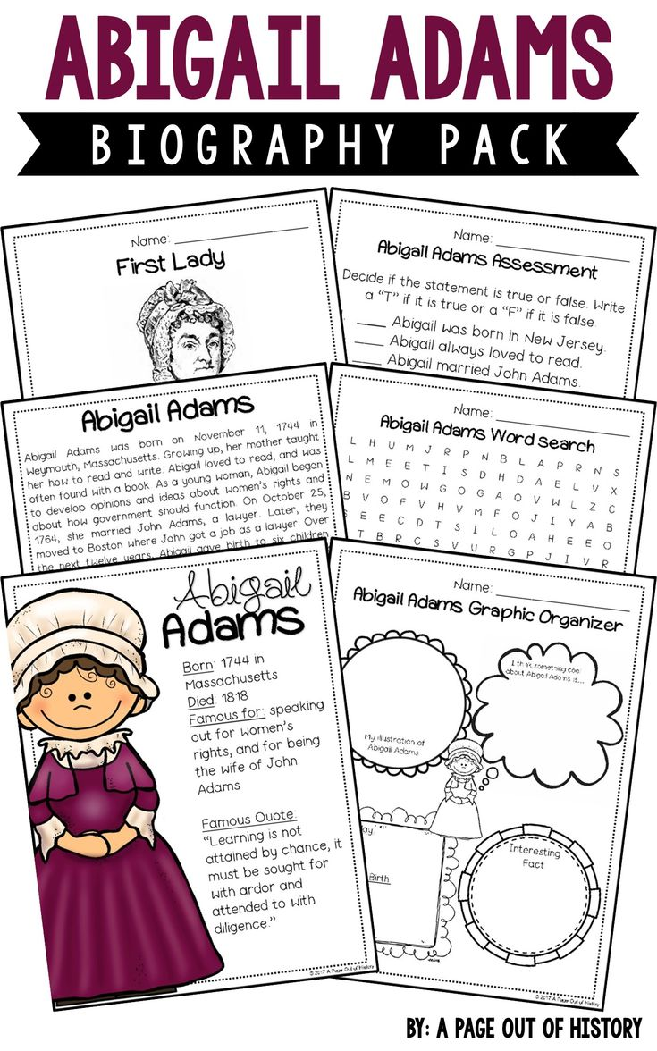 This Abigail Adams biography pack is a great addition to your American Revolution social studies unit/curriculum! Included in this biography pack is a nonfiction passage about the life of Abigail Adams and a variety of fun activities to do with your students! The best part? It's NO PREP! Just print, copy, & go!