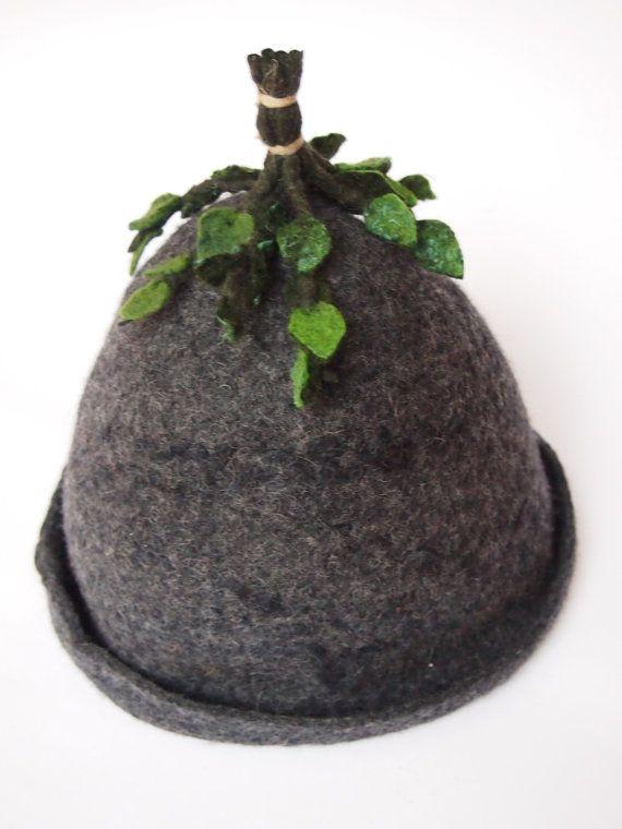 felted  wool Sauna hat for men handmade by LITTAUdesign on Etsy