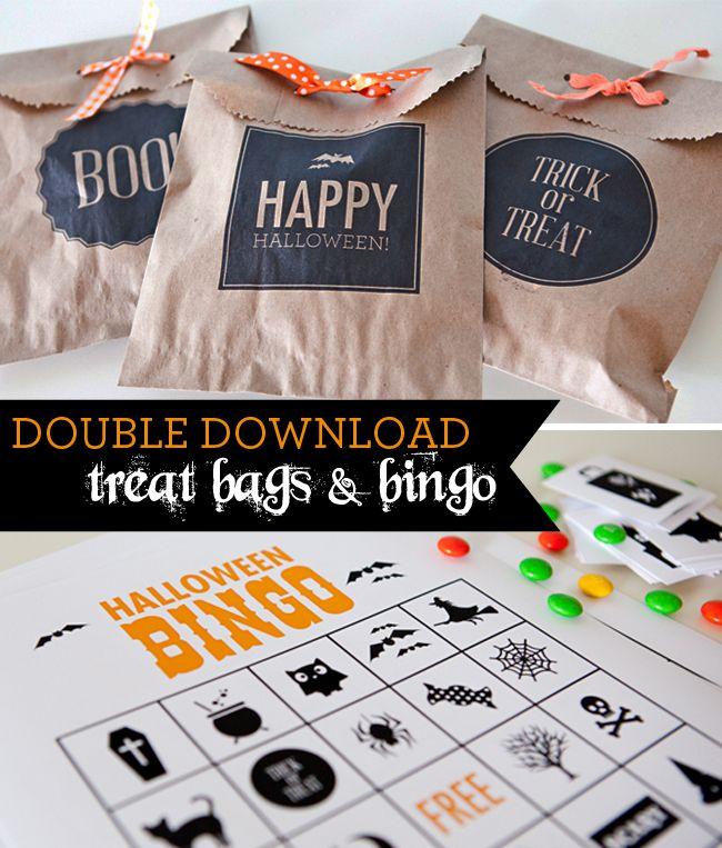 double download- free printable Halloween treat bags & Halloween bingo!