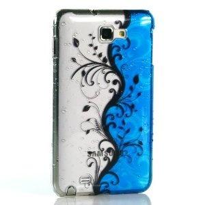 【全3色】Samsung Galaxy Note / GT-N7000用プラスチックケース 水玉シリーズ ブルー 花柄 ハードケース  ギャラクシー ノート対応ケースカバー Hard Case For Galaxy Note / i9220 液晶保護フィルム付(7189-2)