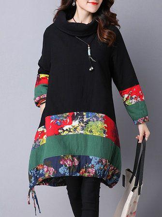 Only US$25.99 , shop Vintage Floral Patchwork Long Sleeve Turtleneck Loose Women Dress at Banggood.com. Buy fashion Vintage Dresses online.