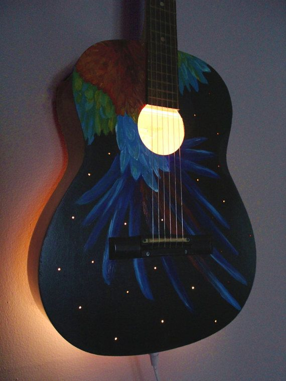 Upcycled Acoustic Guitar Light - Repurposed Musical Instrument Lamp. Reuse, Repurpose, Recycle, Upcycle. Macaw, Strings, Home decoration, decor, bedroom, living room, music room, musician