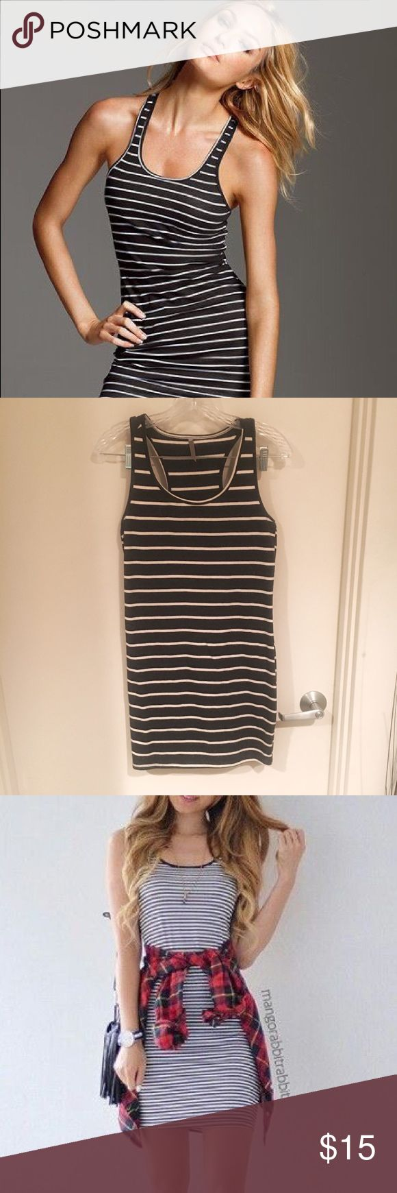 Black and White Striped Mini Dress Super cute fitted black and white striped mini dress that can be dressed up or down, summer or winter 🙂 Second pic is my actual dress! I bought it a long time ago and it's just sat in my closet like my other things lol Dresses Mini