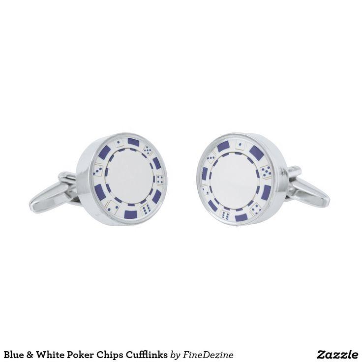 Blue & White Poker Chips Cufflinks