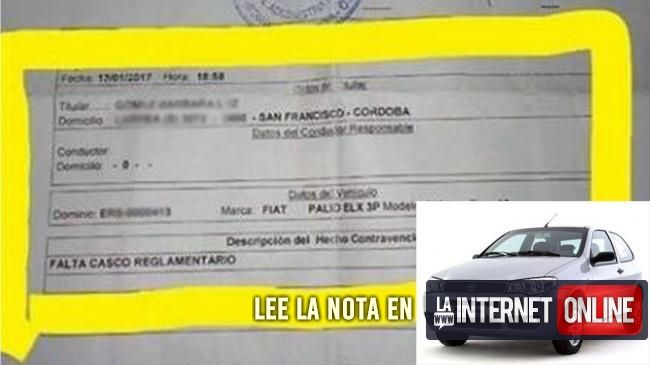 Que hay conductores descuidados e imprudentes, los hay. Pero esto es el colmo: en Córdoba, a una mujer le llegó una multa por falta de casco mientras manejaba su auto.