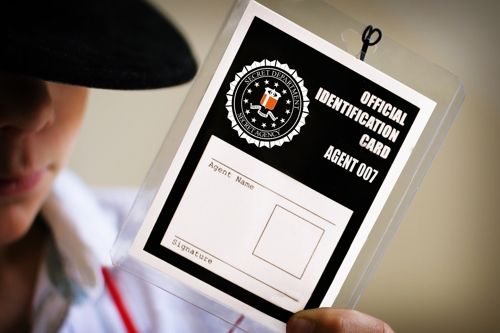 Spy Party ID Badges available FREE in PDF format - edit your text, print, and then add photos or fingerprints!