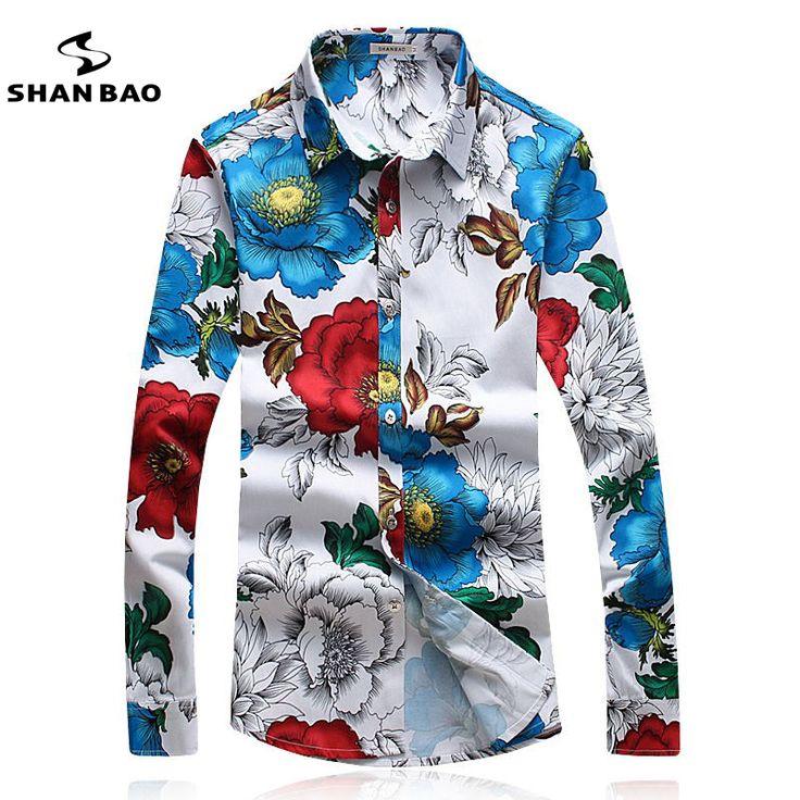 SHANBAO Men's Floral Shirt Slim Fashion Casual Shirt Plus Size M~5XL Business Brand Male Spring Long-sleeved Printed Shirt white