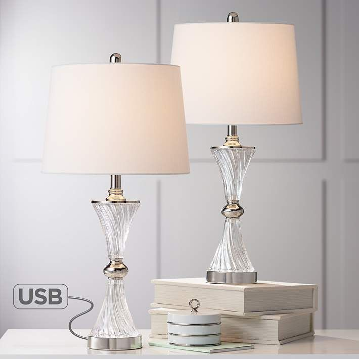 Lucas Chrome And Glass Table Lamp With Usb Port Set Of 2 39k59