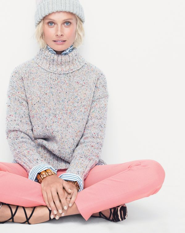 """J.Crew women's mockneck sweater in Italian wool. Colorful confetti-like flecks and the softest Italian merino wool blend will take unwrapping this gift from """"it's a sweater"""" to """"IT'S A SWEATER!!!!"""" status.  Blush. Pink. Champagne. Confetti."""