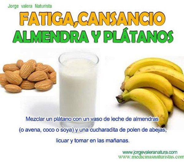 Almendra y plátanos para la fatiga y el cansancio