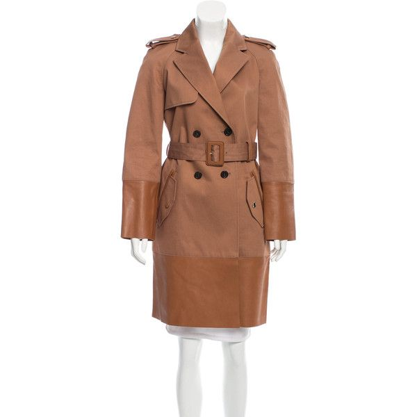 Pre-owned Tod's Double-Breasted Trench Coat ($430) ❤ liked on Polyvore featuring outerwear, coats, neutrals, trench coat, double breasted coat, brown coat, double-breasted trench coat and brown trench coat