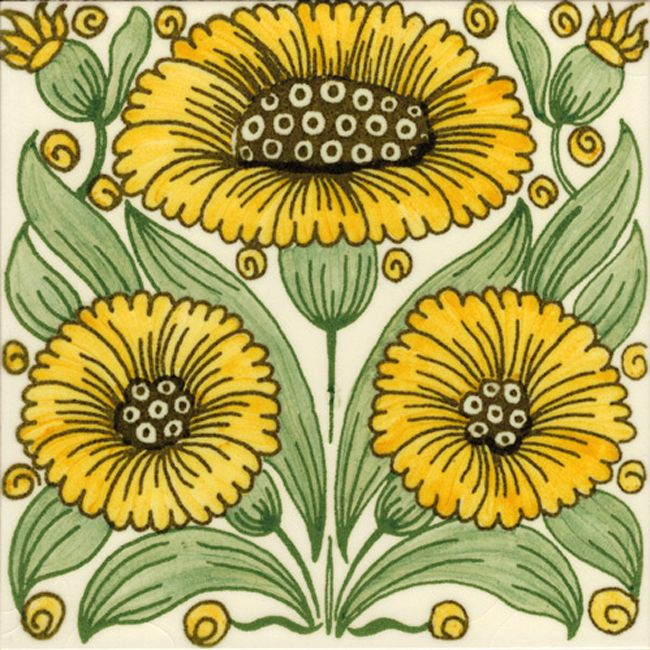 WDM-03 William De Morgan Bedford Park Daisy Tile