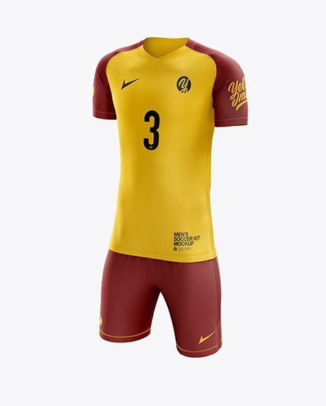 Download Men S Soccer Kit Mockup Half Side View In Apparel Mockups On Yellow Images Object Mockups Shirt Mockup Soccer Kits Design Mockup Free