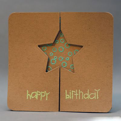 handmade card ... kraft with colored heat embossing ... foldback gatefold card ... luv the creativity of this card ... looks like a star cut  through both sides of the gate ... see next pin to see it opened up ...