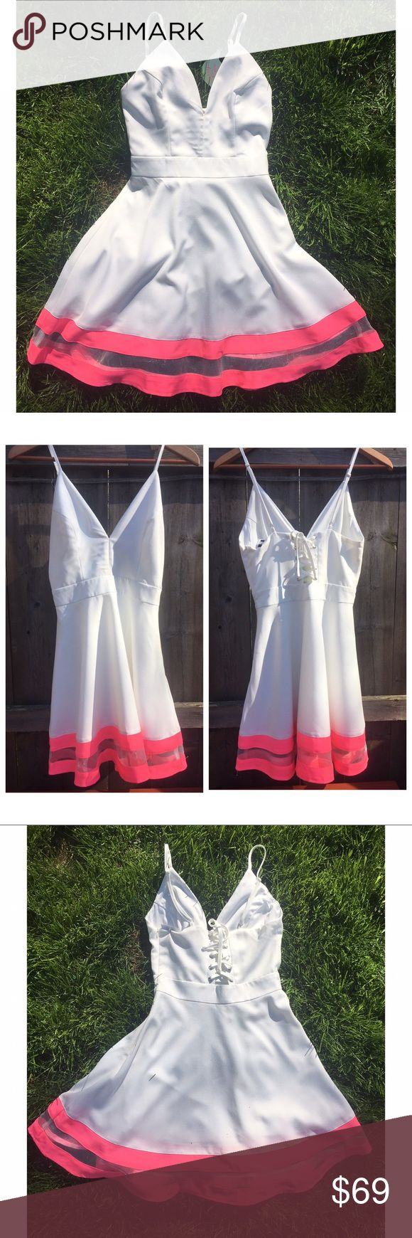 TEA/CUP WHITE/Pink Flippy Corset-back Mini-NWT-SzS Tea & Cup Spaghetti Strap flippy white Dress w/ a Lace-up back bodice. Pink and clear Gauze stripes Hem. Just beautiful - femme and frolic. NWT- $80.  Fabulous! Tea n Cup Dresses Mini