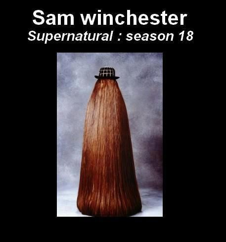 This makes me think that Sam Winchester is an ancestor to Cousin It in the Adam's family