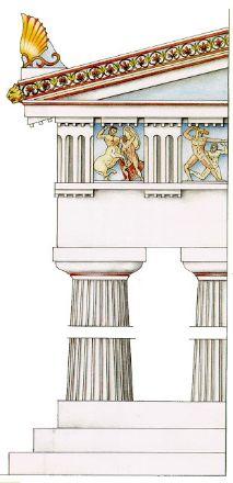 Orden Dórico. El pedestal es el propio estilobato y la columna carece de basa. (Todas las columnas se componen de basa, fuste y capitel). Su fuste es estriado en arista viva y en sentido longitudinal. El capitel está formado por una moldura fina o collarino que sirve de transición entre fuste y capitel, un núcleo curvo en forma de plato llamado equino y sobre él un prisma cuadrangular llamado ábaco.