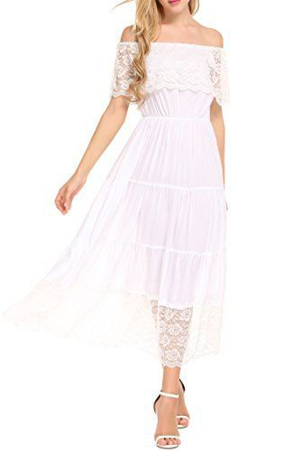 Beyove Women's Off Shoulder Sleeveless Pleated Lace Cocktail Casual Party Dress White XL