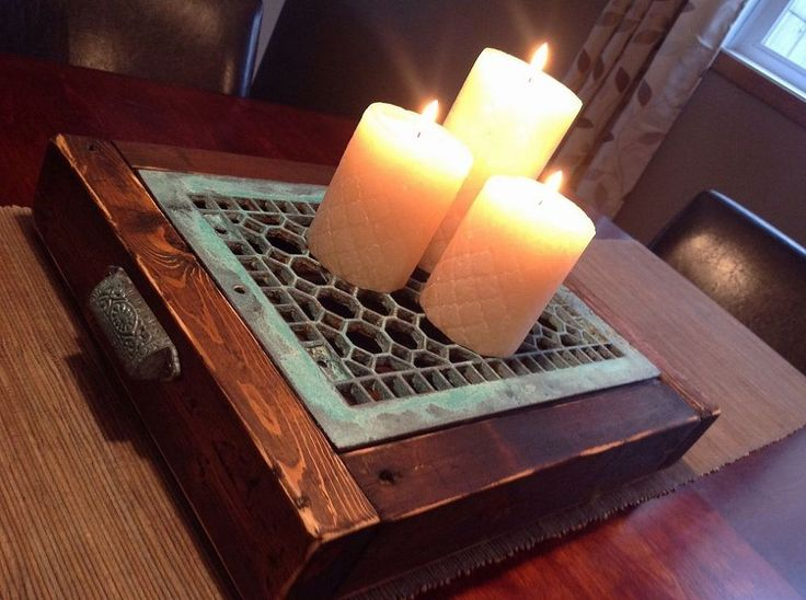Candle Tray from Upcycled Vintage Floor Heating Grate
